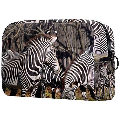 AITAI Bolsa de maquillaje grande para viaje, organizador de cosméticos de África animal salvaje cebra