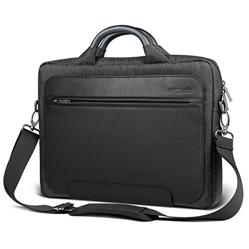 "Inateck Man Shoulder Bag, 14-14.1 Inch Laptop Bag Compatible 15"" 2018/2017/2016 MacBook Pro Up to 14.1 Inch Laptop PU Water-resistant Briefcase with Metal Handle- Black"