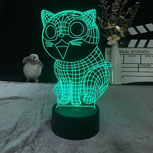 Decoración Que Cambia De Color Regalo Decoración Única Decorativa Para Habitación De Niños Luz Nocturna 3D Reloj Despertador Base Regalo Encantador Gato De La Fortuna