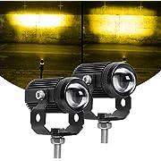 Exzeit Led Driving Light for Motorcycle, Amber Light, High Low Beam Function Fog Lights Headlights for Bike Polaris Yamaha Can Am ATV UTV, 12/24V, 30W, 6000 Lumens 2 pcs (Amber Light)
