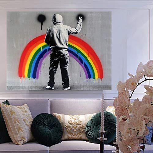N/A Dekorative Drucke aus Leinwand Menschen Regenbogen Graffiti Street Art abstrakte Poster Malerei auf Leinwand Schlafzimmer Wanddekoration Home Decor-50x70cm