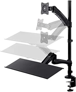Monoprice Articulating Gas Spring Sit Stand Monitor and Keyboard Riser Desk Mount - Black, 26 Inch Table Top Workstation   Easy to Use, Compatible with Most Desks