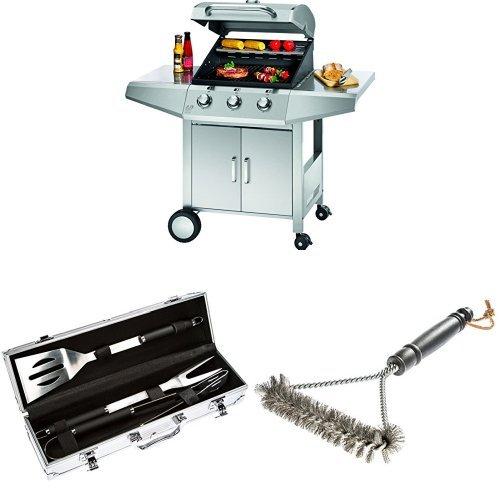 Profi Cook PC-GG 1057 Gasgrill 3-Brenner + Bruzzzler Edelstahl Grillbesteck-Set 3-teilig im Koffer + Bruzzzler Grillbürste mit Edelstahlborsten 3-seitig