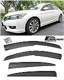 for 2013-2017 Honda Accord 4Dr Sedan   EOS Visors JDM Mugen Style Smoke Tinted Side Vents Window Rain Guard Deflectors
