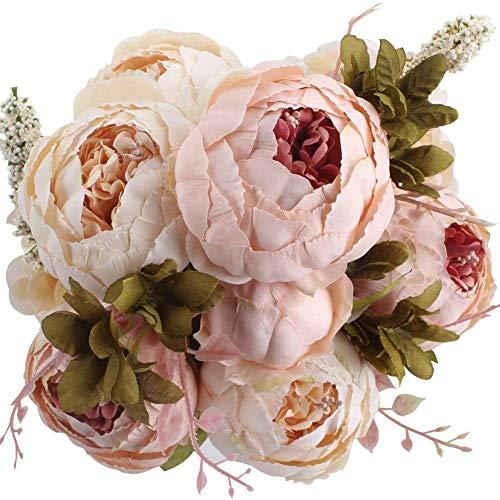 Ksnnrsng Künstliche Blumen Pfingstrose Kunstblumen Seidenblumen Unechte Blumen Seidenpfingstrose Seide Blumenstrauß Jahrgang Hochzeit Zuhause Dekoration (Hell Rosa)