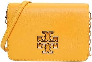 Tory Burch 39053 Britten Pebbled Leather Combo Crossbody Bag (Cassia)