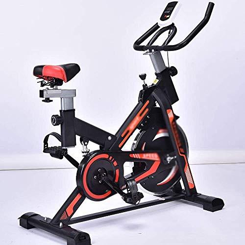 YYhkeby Bicicleta estática CHHD, bicicleta estática con correa de bajo ruido con pantalla LED, asiento de volante de acero inoxidable para uso en interiores y exteriores Jialele (color naranja)