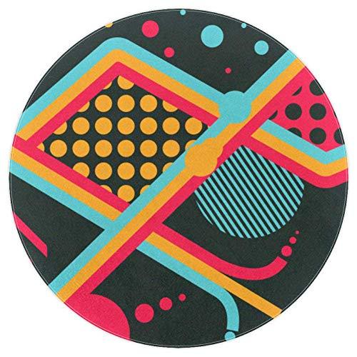EZIOLY Alfombra redonda con patrones abstractos, antideslizante, alfombra de suelo suave, felpudo de 4 pies para niños, sala de juegos, estudio, dormitorio, sala de estar, decoración del hogar, Tejido de poliéster, multicolor, 4ft-120cm