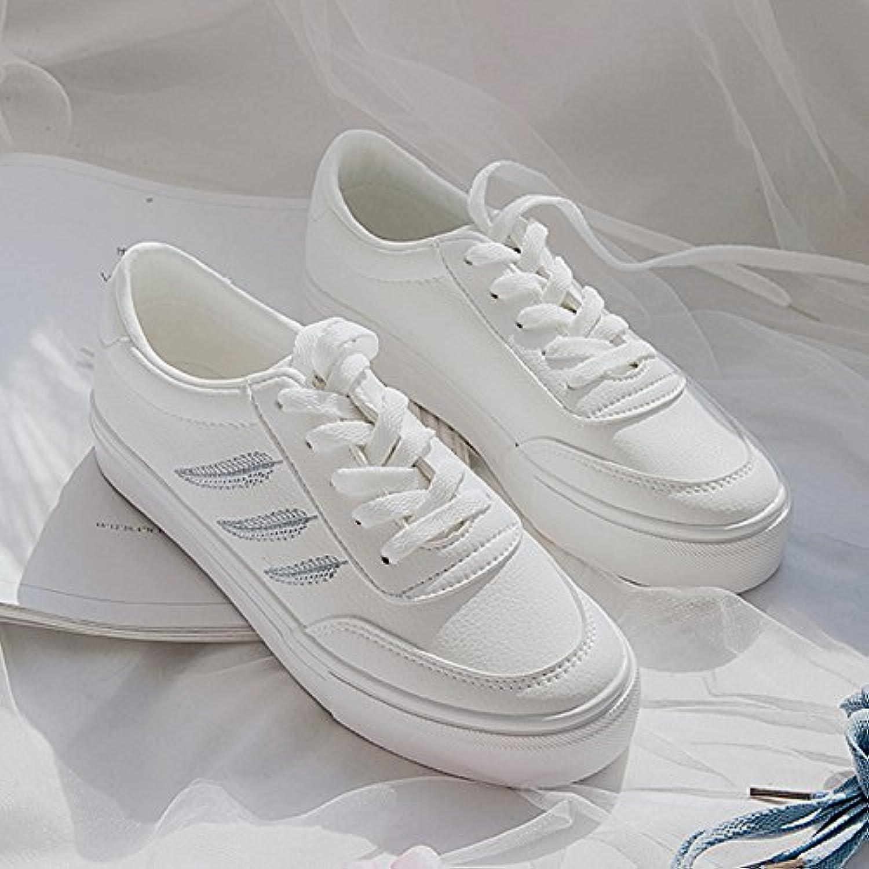 Wuyulunbi@ Feder Flache weiße Schnürsenkel Schuhe Schuhe  | Optimaler Preis  | Zuverlässiger Ruf  | Tragen-wider