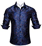 Barry.Wang Men Shirts,Paisley Flower Woven Silk Dress Shirt Long Sleeve Formal/Leisure (Blue and Gold Paisley, XXLarge -B(25')/W(24')/ SW(20.5'))