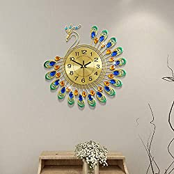 Fleble Gold Wall Clock Digital Silent Non Ticking Metal Clocks Crystal Peacock Vintage Art Decoration Wall Clock for Living Room,Bedroom,Kitchen Space 14.96inch