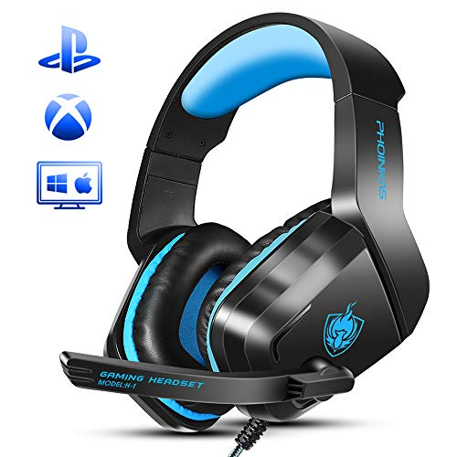 Xbox One Gaming Headset, PHOINIKAS H1 Wired Gaming Headset for PS4, PC, Laptop, Mac, iPad, Nintendo Switch Games, Over Ear Headphone with Microphone, Bass 5.1 Surround, LED Light, Gift for Kids (Blue)