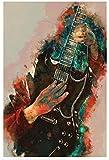 shaofu Póster de guitarra Angus Young y arte de pared, impresión moderna, para decoración de dormitorio familiar, 60 x 90 cm