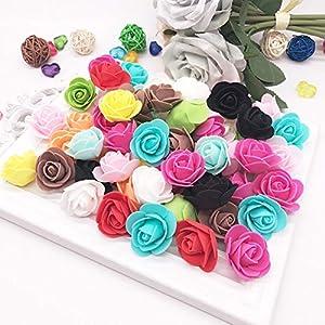 talkyou aszx 100pcs foam rose flower head,mini 3d artificial artificial flowers without stem for handmade diy wreath craft wedding party home decor gifts(10) silk flower arrangements