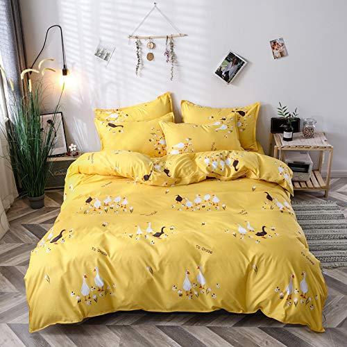 Bettbezug Set, DOTBUY Modern Bettwäsche-Set 3 TLG Bettwäsche Set Polyester Super Weiche mit Reissverschluss Atmungsaktive Bettbezug Kissenbezüge Bettlaken (Gänsegruppe,220x240cm)