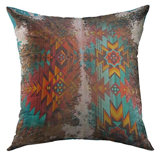 Mugod Decorative Throw Pillow Cover for Couch Sofa,Western Tribal Blue Brown Orange Cowhide Leather Southwest Home Decor Pillow Case 18x18 Inch