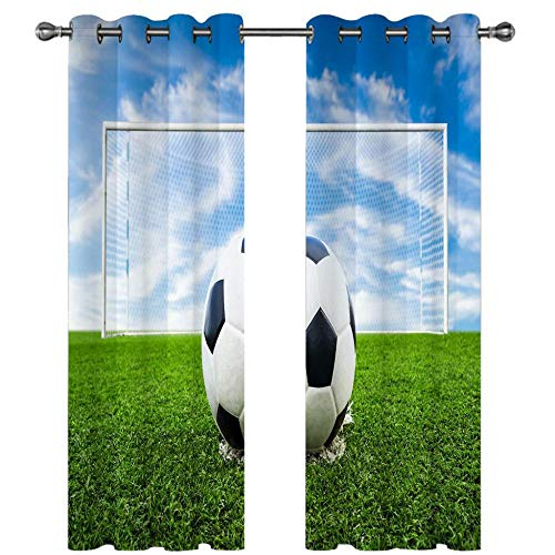HUILIYI 3D Digital Printing Stereo CurtainsFootball on the lawn Kids Curtains 3d Curtains With eyelet for bedroom living room insulation W66 x H90(336x229cm)