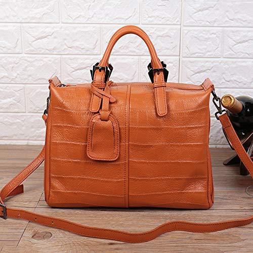 Bolsos de cuero genuinos de las señoras, bolsos de diseñador para mujeres, bolso de mano de bolso de compras ligero Bolso de hombro Crossbody para trabajar, Fecha, Compras, Fiesta ( Color : Brown )