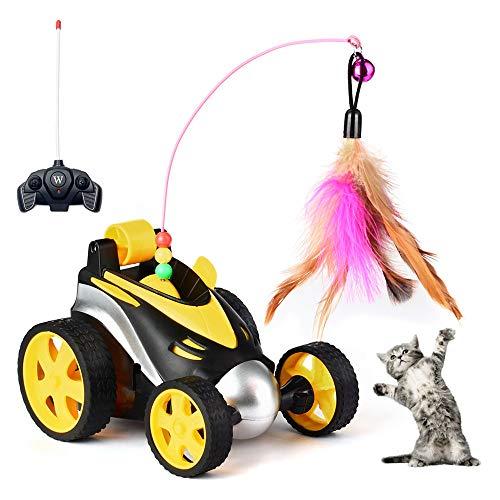 Jewaytec Fernbedienung Katze Feder Spielzeug, interaktive Roboter lustige Spielzeugauto für Katze, automatische Chaser Streich Spielzeug für Kätzchen, lustige Haustier Spielzeug (Remote Car Toy)