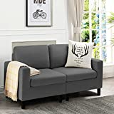 Pretzi Modern 54'' Small Loveseat Sofa for Living Room Small Apartment Uphlostered Mid Century Love Seats with Hardwood Frame Couch Space Saving for Small Space Dorms Studios Home Bedroom (Dark Gray)