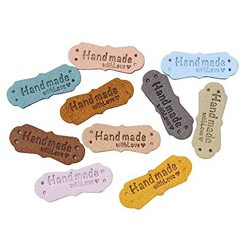 hocadon 40 Piezas Etiquetas de Cuero Hechas a Mano, Cuero de la PU de la Etiqueta de la Ropa, Etiquetas Personalizadas Ropa Coser para Costura Jeans Sombrero Artesanía DIY, 1,5 x 4 cm