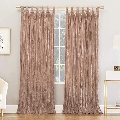 "No. 918 Odelia Distressed Velvet Semi-Sheer Tab Top Curtain Panel, 50"" x 84"", Blush Pink"