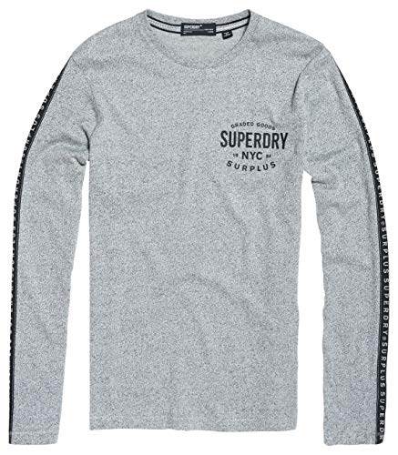 Superdry Men's Surplus Goods Long Sleeve Graphic T-Shirt, Speckle Grit, L
