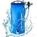 Azarxis ハイドレーション 給水袋 ハイドレーションパック 水分補給 ウォーターキャリー 給水リザーバー 1.5L 2L 3L 食品級TPU 無臭 給水用ボトル 折りたたみ水筒 防災 水袋 広口 スポーツ アウトドア (2L - ライトブルー)