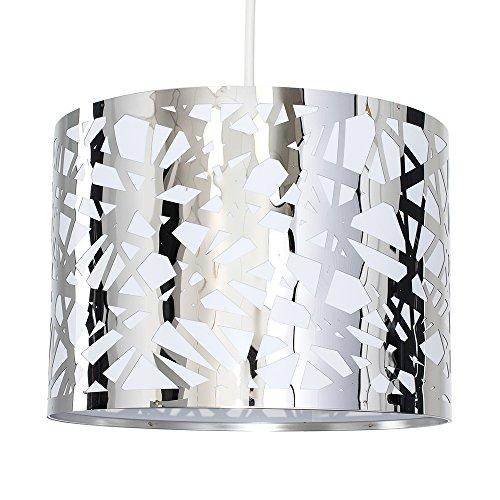 MiniSun – Moderner runder Trommel-Lampenschirm aus Metall im Gitterdesign mit poliertem Chrom-Finish – Design Lampenschirm Metall