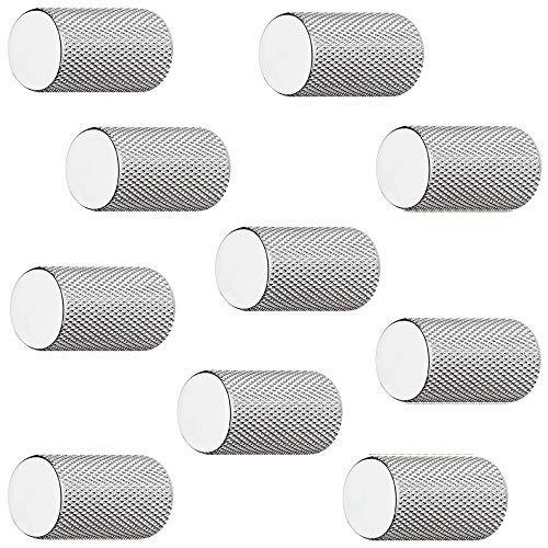 Gedotec aluminium meubelknop chroom glanzend kast-knop vintage voor lade - H10203 | Meubelgreep verchroomd gepolijst | Design-knop cilindrisch Ø 17 mm | 10 stuks - meubelknoppen rond met meubelschroeven 10 Stück