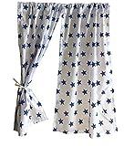 GooseBoose Spielhaus-Vorhänge ~ Weiß mit blauen Sternen ~ Sommerhaus-Vorhänge