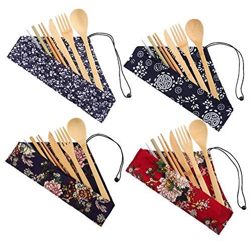 hellomagic Reise-Utensilienset aus Bambus, wiederverwendbar, Besteckset, Besteckset, inklusive Gabel, Messer, Löffel, Essstäbchen, Strohhalm, Reinigungsbürste für Reisen, Picknick, 4 Stück