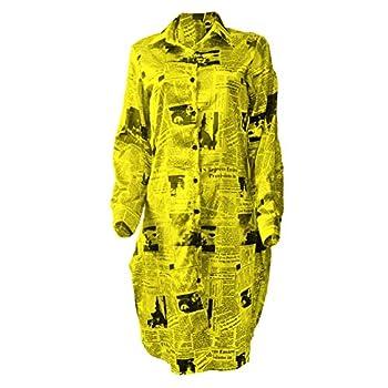DOHAOOE Shirt Dress - Newspaper Print Tie Dye Oversized Long Button Down Sleeve Blouse Clothing  Yellow Medium