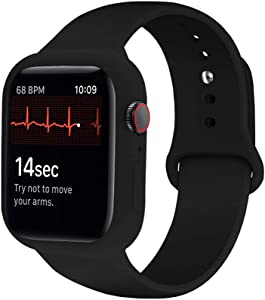 iTecFree Compatible for Apple Watch Band with Case 44mm Black,Soft Silicone Sport Bands Wrist Strap with Protective Bumper for iWatch SE Series 6 / Series5 / Series 4 Accessories(44mm,Black)