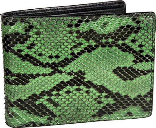 Etabeta Artigiano Toscano - Cartera de hombre de auténtica piel de pitón con certificado CITES - Reticulatus verde y negro - Made in Italy, Var 1 (Verde) - Ret_Verde_1_2021