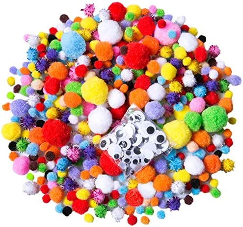 Acerich 1600 Pcs Pompoms Assorted Sizes Multicolor Pom Poms Arts and Crafts Fuzzy Glitter Pompoms product image