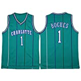 LITBIT Baloncesto de los Hombres NBA Jersey Vintage Charlotte Hornets 1# Bogues Transpirable Quick Secking Sin Mangas Vestima Top para Deportes,Verde,S