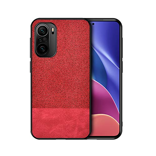 GOGME Funda para Xiaomi Redmi Note 10 Pro Funda, [Estilismo de Tela de Lona Tejida] Carcasa con Marco de Silicona Suave TPU + PC Back Protección contra Caídas Case Cover. Rojo