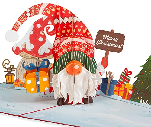 Paper Love Pop Up Christmas Card, Santa Gnome, Handmade 3D Popup Greeting Cards for Christmas, Holiday, Xmas Gift | 5' x 7'