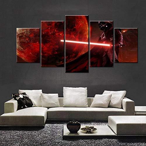 IKDBMUE Bilder Darth Vader Anakin Skywalker Film 100x55 cm Vlies Leinwandbild 5Kunstdruck modern Wandbilder Wanddekoration Design Wand Bild