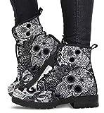 CRMY Botines con Cordones para Mujer Botines de Plataforma de tacón bajo Impermeables con Punta Redonda, Zapatos de Cuero Retro de Moda para Mujer Botas de Motorista con Estampado de Calavera