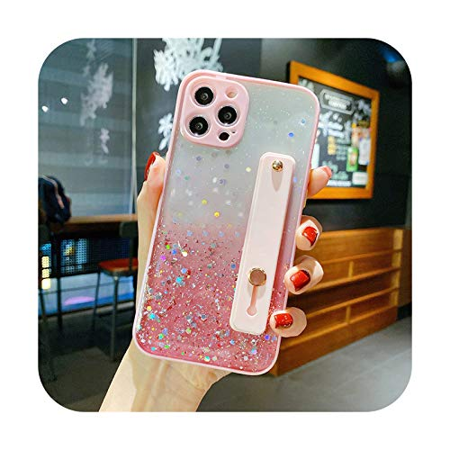 Funda para teléfono con correa de muñeca con purpurina para iPhone 12 11Pro Max XR XS Max X 7 8 Plus 12Mini 12Pro Bling Lentejuelas Gradient Clear Soft Cover-T1-para iPhone XS
