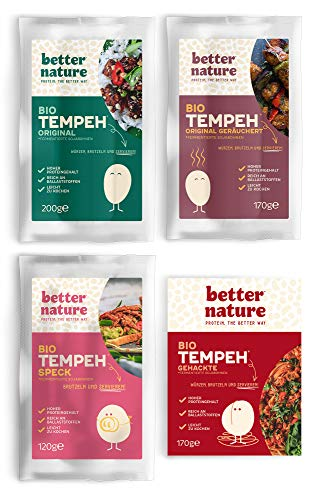 Better Nature - Bestseller Tempeh Auswahl (4er-Pack) Vegane Fleischalternative