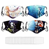 4 Pcs Sword Art Online Anime Adults Face Mask Washable Reusable Gifts for Women
