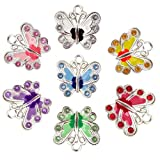 Honbay 14PCS Enamel Butterfly Charm Pendants with Crystal for Jewelry Making or DIY Crafts