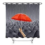 Muchos Paraguas Negros Y Un Paraguas Rojo. Cortina De Ducha 180X180Cm. Hecho De Fibra De Poliéster Impresión 3D HD. Gancho Libre