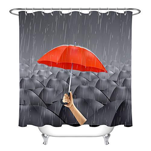 ZZZdz vele parasols zwart en een paraplu rode decoraties voor het huis douchegordijn 180 x 180 cm 12 haken Gratuite 3D HD print patroon