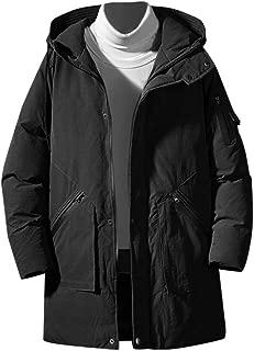 IZHH Ultra Thick Parka Coat Men Solid Down Jacket Long Puffer Outwear Overcoat