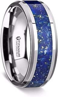 Titanium Wedding Ring Polished with Blue Lapis Inlay Beveled Edges 8mm Band