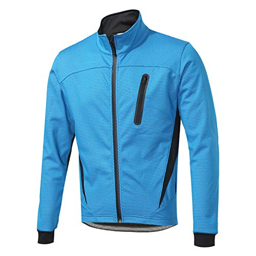 SUKUTU Chaqueta de ciclismo para hombre a prueba de viento Softshell reflectante Invierno Polar Bike ropa exterior, Hombre, Blue-Fleece, S